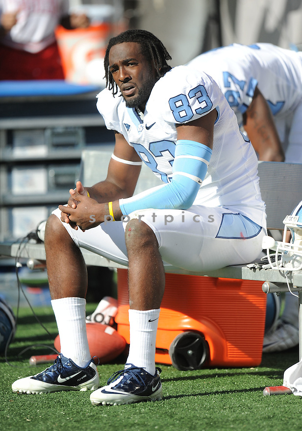 DWIGHT JONES, of the University of North Carolina, in action during UNC's game against NC State on November 5, 2011 at Carter-Finley Stadium in Raleigh, NC. NC State beat North Carolina 13-0.