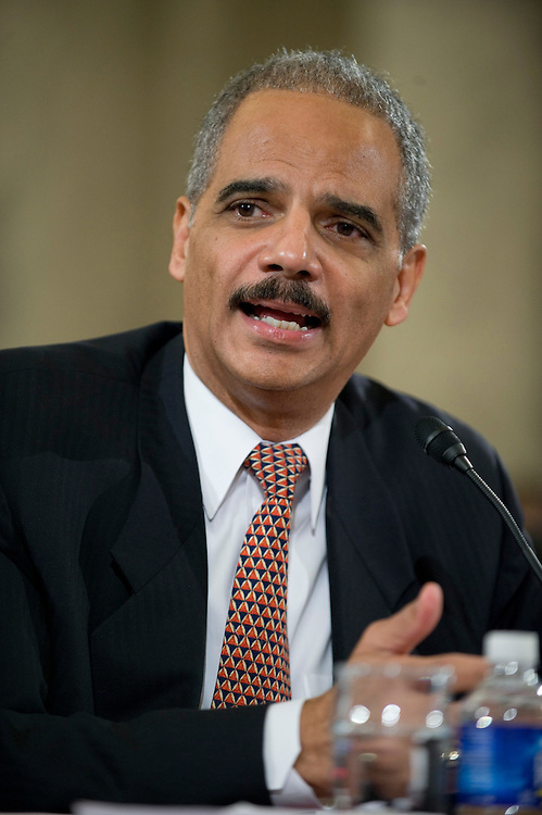"WASHINGTON, DC - Jan. 15: Attorney General-designate Eric H. Holder Jr. during his nomination hearing before Senate Judiciary. He outlined positions on detainee treatment and presidential authority that starkly differ from those of the Bush administration. In response to the first question, from committee Chairman Patrick J. Leahy, D-Vt., Holder said flatly that the simulated drowning technique of interrogation known as ""waterboarding"" is torture. (Photo by Scott J. Ferrell/Congressional Quarterly)"