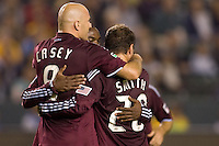 Conor Casey is congratulated by teammates after scoring a goal. The Colorado Rapids defeated the LA Galaxy 3-1 at Home Depot Center stadium in Carson, California on Saturday October 16, 2010.