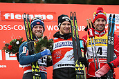 7th January 2018, Val di Fiemme, Fiemme Valley, Italy; FIS Cross Country World Cup, Tour de ski; Mens 9km F Pursuit; Martin Johnsrud Sundby (NOR), Dario Cologna (SUI), Alex Harvey (CAN)celebrate on the podium
