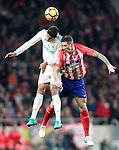 Atletico de Madrid's Fernando Torres (r) and Real Madrid CF's Raphael Varane during La Liga match. November 18,2017. (ALTERPHOTOS/Acero)
