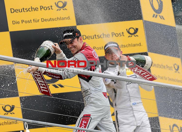 DTM 2015, 01.Lauf Hockenheimring, 01.05. - 03.05.15 <br /> Champagnerduschef&uuml;r Jamie Green (GBR#53) Audi Sport Team Rosberg Audi RS 5 DTM und Paul Di Resta (GBR#3) Silberpfeil Energy Mercedes-AMG C-Coup&eacute; <br /> <br /> <br /> <br /> Foto &copy; nordphoto /  Bratic
