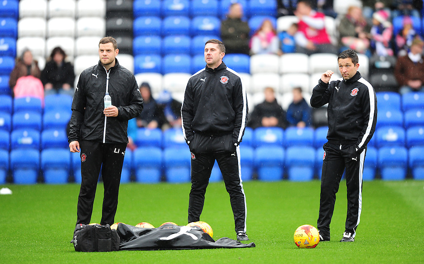 Fleetwood Town backroom staff, from left, Luke Bussey, Chris Lucketti and Barry Nicholson during the pre-match warm-up <br /> <br /> Photographer Chris Vaughan/CameraSport<br /> <br /> Football - The Football League Sky Bet League One - Peterborough United v Fleetwood Town - Saturday 14th November 2015 - ABAX Stadium - Peterborough<br /> <br /> &copy; CameraSport - 43 Linden Ave. Countesthorpe. Leicester. England. LE8 5PG - Tel: +44 (0) 116 277 4147 - admin@camerasport.com - www.camerasport.com