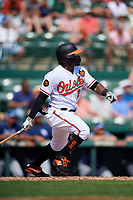 Baltimore Orioles left fielder Eric Young Jr (28) hits a single and drives in a run during a Grapefruit League Spring Training game against the Tampa Bay Rays on March 1, 2019 at Ed Smith Stadium in Sarasota, Florida.  Rays defeated the Orioles 10-5.  (Mike Janes/Four Seam Images)