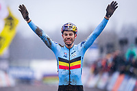 Picture by Alex Whitehead/SWpix.com - 04/02/2018 - Cycling - 2018 UCI Cyclo-Cross World Championships - Valkenburg, The Netherlands - Belgium's Wout van Aert celebrates victory in the Elite Men's race.
