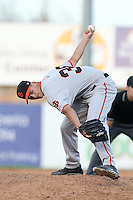 Tyler Rogers #39 of the San Jose Giants pitches against the High Desert Mavericks at Heritage Field on August 31, 2014 in Adelanto, California. High Desert defeated San Jose, 9-6. (Larry Goren/Four Seam Images)