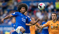 Hamza Choudhury of Leicester City & Diogo Jota of Wolves during the Premier League match between Leicester City and Wolverhampton Wanderers at the King Power Stadium, Leicester, England on 10 August 2019. Photo by Andy Rowland.