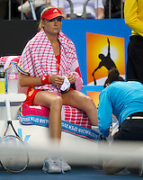 DANIELA HANTUCHOVA (SVK) against KIM CLIJSTERS (BEL) in the third round of Women's Singles. Kim Clijsters beat Daniela Hantuchova 6-3 6-2..20/01/2012, 20th January 2012, 20.01.2012..The Australian Open, Melbourne Park, Melbourne,Victoria, Australia.@AMN IMAGES, Frey, Advantage Media Network, 30, Cleveland Street, London, W1T 4JD .Tel - +44 208 947 0100..email - mfrey@advantagemedianet.com..www.amnimages.photoshelter.com.