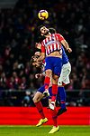 Diego Costa of Atletico de Madrid heads the ball during the La Liga 2018-19 match between Atletico de Madrid and Athletic de Bilbao at Wanda Metropolitano, on November 10 2018 in Madrid, Spain. Photo by Diego Gouto / Power Sport Images
