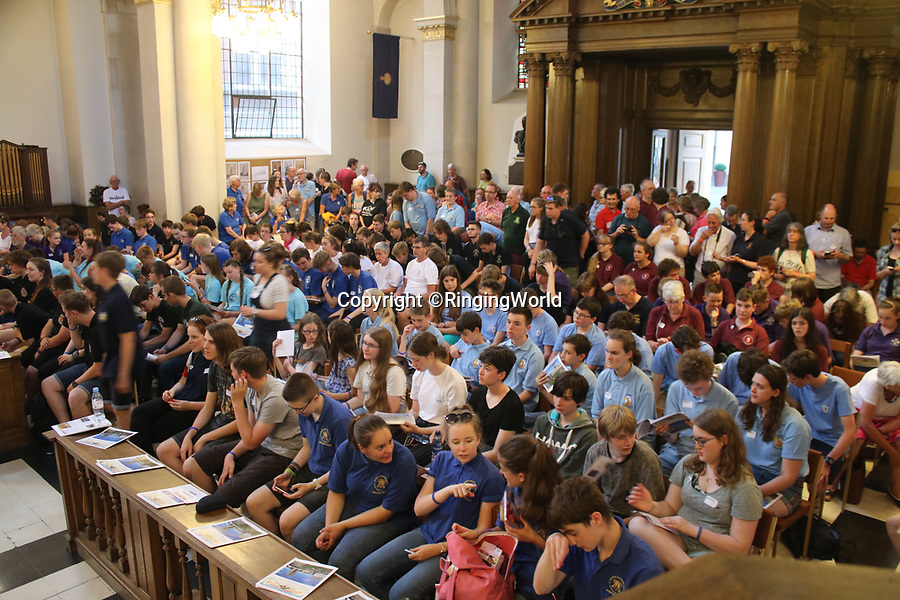 BNPS.co.uk (01202 558833)<br /> Pic: RingingWorld/BNPS<br /><br />The youth ringers await the results at the end of last year's competition at St Mary-le-Bow, Cheapside – home of the world famous Bow Bells<br /> <br /> Bell-ringing amongst teenagers is enjoying an unlikely resurgence after the introduction of competitive contests in church towers.<br /> <br /> This summer's Ringing World National Youth Contest (RWNYC) in Liverpool will be the biggest yet and is oversubscribed with more than 250 ringers attending.<br /> <br /> It is thought that the hobby is an excellent way of keeping youngsters off their screens as well as providing exercise, developing teamwork and creating opportunities for socialising.<br /> <br /> The competition has also spawned a number of regional contests that have led to more youngsters taking up The Exercise, as change bell ringing is known.