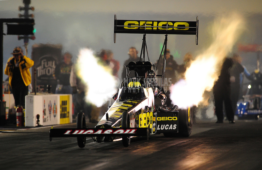Sept. 16, 2011; Concord, NC, USA: NHRA top fuel dragster driver Morgan Lucas during qualifying for the O'Reilly Auto Parts Nationals at zMax Dragway. Mandatory Credit: Mark J. Rebilas-