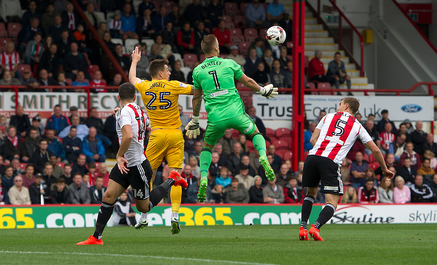 Preston North End's Jordan Hugill battles for possession with Brentford's Daniel Bentley<br /> <br /> Photographer Ashley Western/CameraSport<br /> <br /> The EFL Sky Bet Championship - Brentford v Preston North End - Saturday 17 September 2016 - Griffin Park - London<br /> <br /> World Copyright &copy; 2016 CameraSport. All rights reserved. 43 Linden Ave. Countesthorpe. Leicester. England. LE8 5PG - Tel: +44 (0) 116 277 4147 - admin@camerasport.com - www.camerasport.com