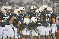 26 September 2009:  Penn State QB Daryll Clark (17) calls a play in the huddle.  The Iowa Hawkeyes defeated the Penn State Nittany Lions 21-10 at Beaver Stadium in State College, PA.