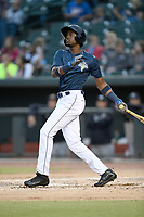 Center fielder Ranfy Adon (3) of the Columbia Fireflies bats in a game against the Charleston RiverDogs on Friday, April 5, 2019, at Segra Park in Columbia, South Carolina. Charleston won, 6-1. (Tom Priddy/Four Seam Images)