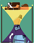 Hourglass consisting of contrast lifestyle over colored background depicting time loss