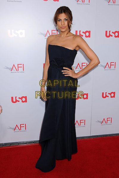 EVA MENDES .36th Annual AFI Life Achievement Award at the Kodak Theatre, Hollywood, California, USA,.12 June 2008 .full length navy blue dress strapless gold earrings hand on hip .CAP/ADM/BP.©Byron Purvis/Admedia/Capital PIctures