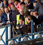 BT Sport pundit Chris Sutton on the Ibrox gantry in front of the fans