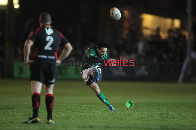 Rabo Direct Pro 12.Miah Nikora kicks a penalty for Connacht..Newport Gwent Dragons v Connacht.30.03.12.©Steve Pope