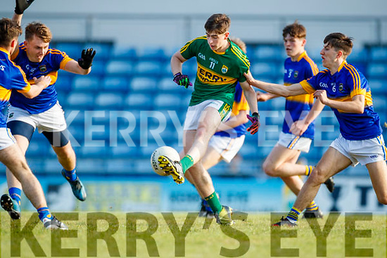 Donal O'Sullivan Kerry in action against Paul Devlin Tipperary in the Munster U17 Football Championship at Austin Stack Park Tralee on Tuesday evening.