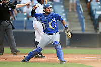 Dunedin Blue Jays catcher Santiago Nessy (43) throws down to second during a game against the Tampa Yankees on June 28, 2014 at George M. Steinbrenner Field in Tampa, Florida.  Tampa defeated Dunedin 5-2.  (Mike Janes/Four Seam Images)