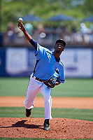 Charlotte Stone Crabs relief pitcher Michael Santos (35) delivers a pitch during a game against the Palm Beach Cardinals on April 12, 2017 at Charlotte Sports Park in Port Charlotte, Florida.  Palm Beach defeated Charlotte 8-7.  (Mike Janes/Four Seam Images)