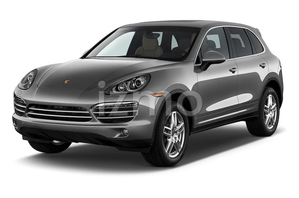2014 Porsche Cayenne Platinum Edition 5 Door SUV Angular Front stock photos of front three quarter view