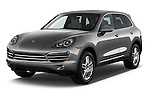 2014 Porsche Cayenne Platinum Edition 5 Door SUV Angular Front stock photos of front three quarter view