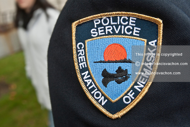 Cree Nation of Nemaska Police badge is seen during a police memorial parade in Ottawa Sunday September 26, 2010.