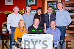 Denis Nagle presents the proceeds fo the recent Killarney Autocross to the Irish Kidney Association in the Valley Hotel Fossa on Friday night front row l-r: Tara looney, Denis Nagle, Con Brosnan IKA. Back row: Diarmuid Lynch, Paul O'Shea, Teresa Looney, Pat looney and Diarmuid Cronin