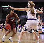 SIOUX FALLS, SD: MARCH 7: Danielle Lawrence #14 of IUPUI drives toward Western Illinois defender Michelle Farrow #22 during the Women's Summit League Basketball Championship Game on March 7, 2017 at the Denny Sanford Premier Center in Sioux Falls, SD. (Photo by Dick Carlson/Inertia)