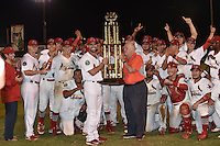 Appalachian League President Lee Landers presents the Championship Trophy to Johnson City Cardinals after Game Two of the Appalachian League Championship series against the Burlington Royals at TVA Credit Union Ballpark on September 7, 2016 in Johnson City, Tennessee. The Cardinals defeated the Royals 11-6 to win the series 2-0.. (Tony Farlow/Four Seam Images)