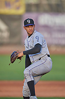 Grand Junction Rockies starting pitcher Anderson Amarista (32) delivers a pitch to the plate against the Ogden Raptors at Lindquist Field on August 28, 2019 in Ogden, Utah. The Rockies defeated the Raptors 8-5. (Stephen Smith/Four Seam Images)