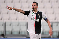 Leonardo Bonucci of Juventus reacts during the Serie A football match between Juventus FC and UC Sampdoria at Juventus stadium in Turin (Italy), July 26th, 2020. Play resumes behind closed doors following the outbreak of the coronavirus disease. <br /> Photo Federico Tardito / Insidefoto