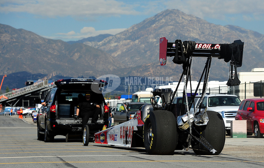 Nov. 11, 2011; Pomona, CA, USA; NHRA top fuel dragster driver Shawn Langdon during qualifying at the Auto Club Finals at Auto Club Raceway at Pomona. Mandatory Credit: Mark J. Rebilas-.