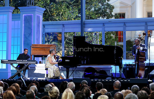 Herbie Hancock (L) and Aretha Franklin (C) play at the International Jazz Day Concert on the South Lawn of the White House, in Washington, DC, April 29, 2016. United States President Barack Obama delivered remarks to introduce the event. <br /> Credit: Aude Guerrucci / Pool via CNP/MediaPunch