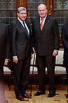 """Jose Luis Garcia Delgado and King Juan Carlos during the """"Premio de Economía Rey Juan Carlos"""" to Jose Luis Garcia Delgado at Banco de España in Madrid. November 17, Spain. 2016. (ALTERPHOTOS/BorjaB.Hojas)"""