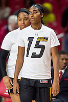 College Park, MD - DEC 6, 2016: Towson Tigers guard/forward Nukiya Mayo (1) in the warm up line before game between Towson and Maryland at XFINITY Center in College Park, MD. The Terps defeated the Tigers 97-63. (Photo by Phil Peters/Media Images International)