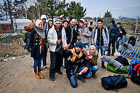 A group of Syrian refugees is  preparing to cross the Greek-Macedonian border at the village of Idomeni, Greece, 8 Febraury 2016.<br /> Hundreds of refugees arrive at Idomeni and cross the border between Greece and Macedonian on their journey to North Europe.