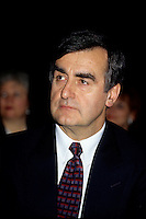 Montreal (Qc) CANADA - File Photo - Jan 1996 -<br /> <br /> Lucien Bouchard,  Leader Parti Quebecois (from Jan 29, 1996 to March 2, 2001). seen in a file photo<br /> <br /> After the Yes side lost the 1995 referendum, Parizeau resigned as Quebec premier. Bouchard resigned his seat in Parliament in 1996, and became the leader of the Parti Qu&Egrave;b&Egrave;cois and premier of Quebec.<br /> <br /> On the matter of sovereignty, while in office, he stated that no new referendum would be held, at least for the time being. A main concern of the Bouchard government, considered part of the necessary conditions gagnantes (&quot;winning conditions&quot; for the feasibility of a new referendum on sovereignty), was economic recovery through the achievement of &quot;zero deficit&quot;. Long-term Keynesian policies resulting from the &quot;Quebec model&quot;, developed by both PQ governments in the past and the previous Liberal government had left a substantial deficit in the provincial budget.<br /> <br /> Bouchard retired from politics in 2001, and was replaced as Quebec premier by Bernard Landry.