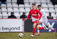 Francesco Antonucci of AS Monaco FC Youth under pressure from Dylan Duncan of Spurs U19 during the UEFA Youth League round of 16 match between Tottenham Hotspur U19 and Monaco at Lamex Stadium, Stevenage, England on 21 February 2018. Photo by Andy Rowland.