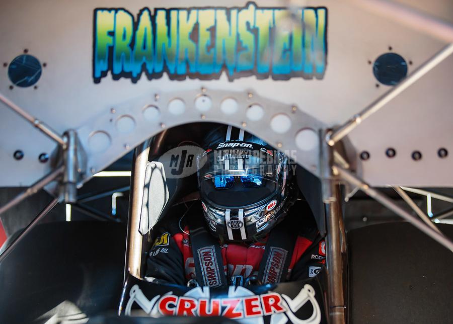 Jun 15, 2018; Bristol, TN, USA; NHRA funny car driver Cruz Pedregon during qualifying for the Thunder Valley Nationals at Bristol Dragway. Mandatory Credit: Mark J. Rebilas-USA TODAY Sports