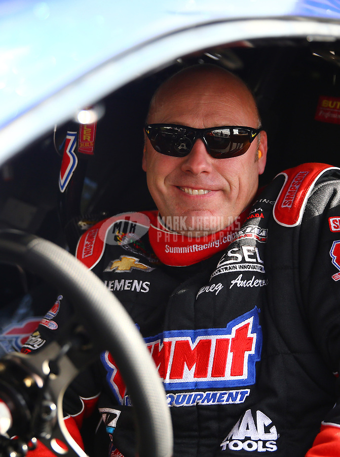 Feb 7, 2014; Pomona, CA, USA; NHRA pro stock driver Jimmy Alund during qualifying for the Winternationals at Auto Club Raceway at Pomona. Mandatory Credit: Mark J. Rebilas-