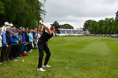Tommy FLEETWOOD (ENG) on the 18th during the final round of the 2015 BMW PGA Championship over the West Course at Wentworth, Virgina Water, London. 24/05/2015<br /> Picture Fran Caffrey, www.golffile.ie
