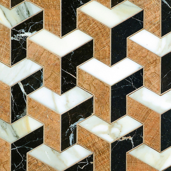 Francois, a waterjet mosaic shown in polished Saint Laurent, Calacatta and Topaz Onyx, is part of the Illusions® collection by Sara Baldwin for New Ravenna.