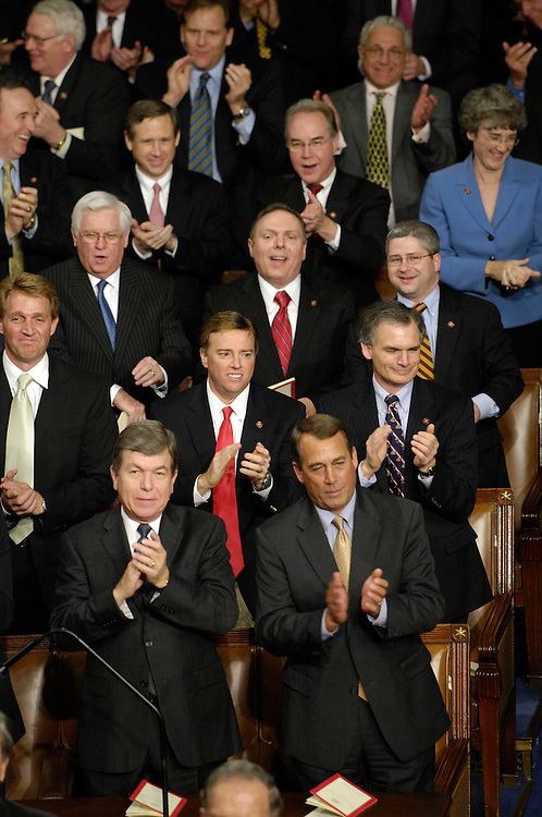 WASHINGTON, DC - Jan. 28: Republican members applaud as President George W. Bush delivers his final State of the Union address to a joint session of the U.S. Congress.  (Photo by Scott J. Ferrell/Congressional Quarterly)
