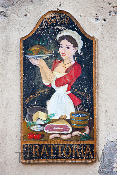 Trattoria sign in old hill town of Montalcino, Val D'Orcia,Tuscany, Italy