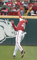 NWA Democrat-Gazette/ANDY SHUPE<br />Arkansas second baseman Carson Shaddy reaches to make a catch Saturday, April 14, 2018, during the third inning against South Carolina at Baum Stadium. Visit nwadg.com/photos to see more photographs from the game.