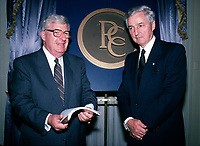 May1988 File Photo - Frank Knowles (L) and Paul Desmarais attend Power Corporation of Canada's annual meeting held at the Ritz-Carlton in Montreal, Canada.<br /> <br /> Desmarais passed away October 10, 2013. He was 86 years old