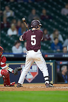 Tanner Allen (5) of the Mississippi State Bulldogs at bat against the Louisiana Ragin' Cajuns in game three of the 2018 Shriners Hospitals for Children College Classic at Minute Maid Park on March 2, 2018 in Houston, Texas.  The Bulldogs defeated the Ragin' Cajuns 3-1.   (Brian Westerholt/Four Seam Images)