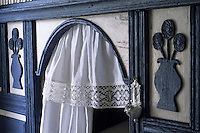 Europe/France/Bretagne/29/Finistère/Ile d'Ouessant: - Maison - Musée des Traditions Ouessantines - détail mobilier - lit clos